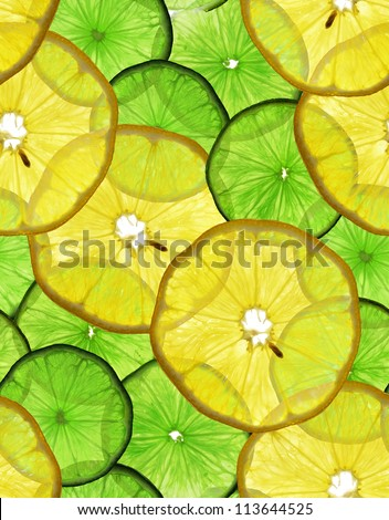 Seamless texture of lemons and limes with backlight. - stock photo