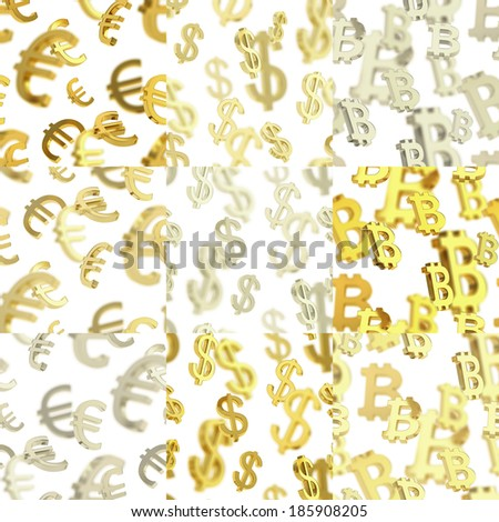 Seamless texture pattern set made of euro, dollar, bitcoin currency signs over the white background in three color variations - stock photo