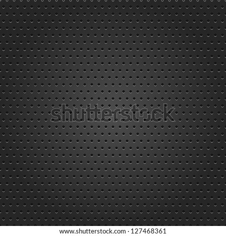 Seamless texture perforated small round dot black metal surface dark gray background. This image for clip-art design element is a bitmap copy of my vector illustrations - stock photo