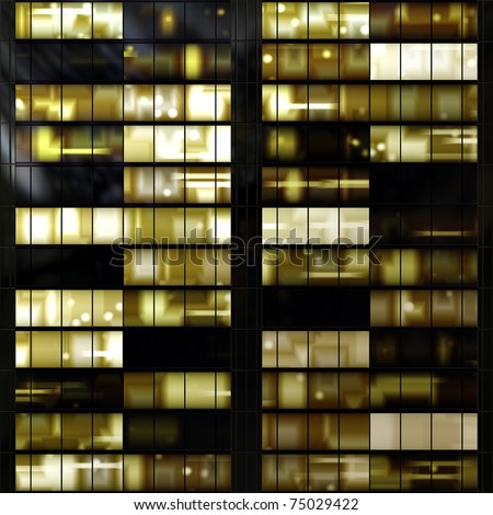 Seamless texture resembling illuminated windows in a building at night - stock photo