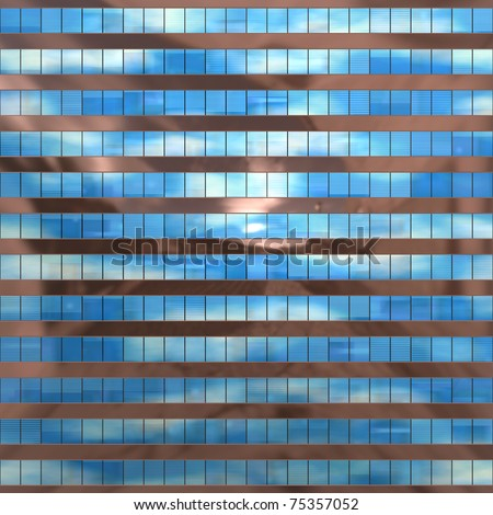 Seamless texture resembling skyscrapers windows with reflections of a cloudy sky - stock photo