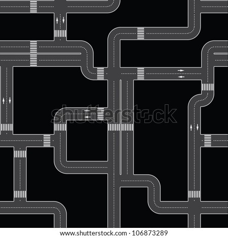 Seamless texture - the urban asphalt roads. fully editable - stock photo