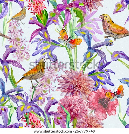 seamless texture with beautiful flowers and birds. watercolor - stock photo