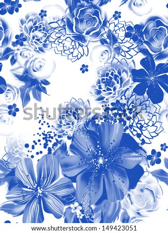Seamless texture with blue flowers in watercolor technique. Wallpaper with roses, daisies and mimosa. The painting in the style of gzhel. Russian decorative pictures. Greeting holiday card. - stock photo