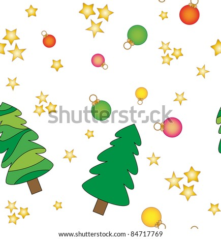 Seamless texture with Christmas trees, baubles and stars - stock photo