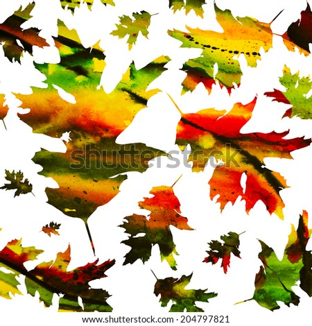 Seamless texture with colored watercolor maple leaves on a black background. Technique of painting, monotype - stock photo