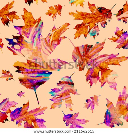 Seamless texture with colored watercolor maple leaves on a white background. Technique of painting, monotype - stock photo