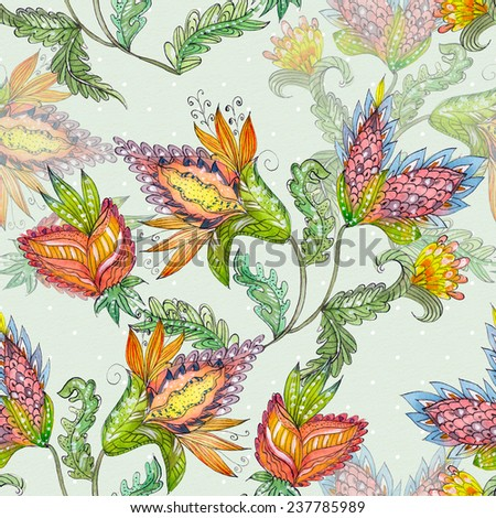 seamless texture with exotic abstract flowers. watercolor painting - stock photo