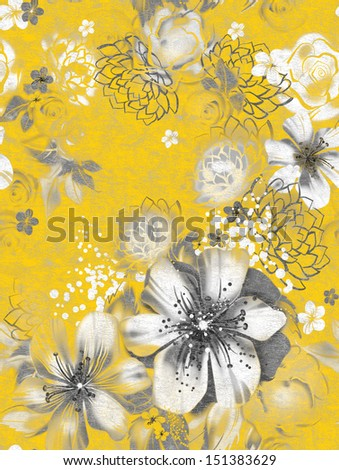 Seamless texture with gray flowers on an yellow backround in watercolor technique. Wallpaper with roses, daisies and mimosa. Russian decorative pictures. Greeting holiday card. Making a child's room - stock photo