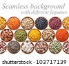 Seamless texture with legumes on white background - stock photo