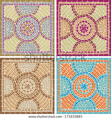 Seamless texture with multicolored mosaics in the Byzantine style/Antique mosaics/Mosaic tiles in antique style - stock photo