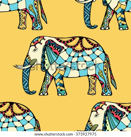 seamless texture with stylized patterned elephants in Indian style - stock photo