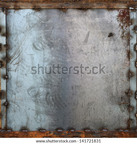 seamless tileable metal plate with frame texture, background - stock photo