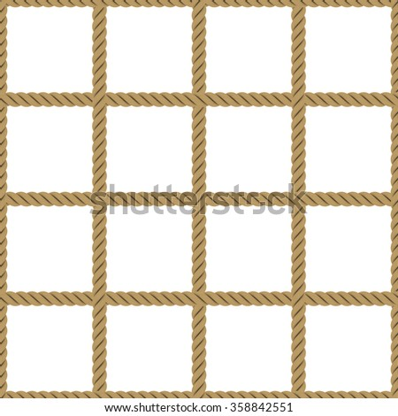 Seamless Tileable Rope Net Texture Isolated on White Background