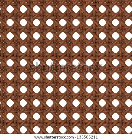 Seamless Tileable Texture of Wooden Brown Rattan. - stock photo