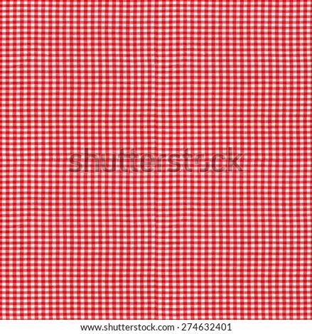 Seamless tileable texture useful as a background - red checkered tablecloth fabric - stock photo