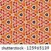 Seamless tiled mosaic pattern of kaleidoscopic altered hexagonal real ceramic tiles arranged to form colorful triangle shapes for a repeated textured background effect. - stock photo