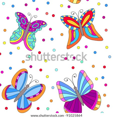 Seamless tiling colorful butterfly and dot texture
