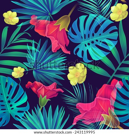 Seamless tropical flower and leaves, plant pattern - stock photo