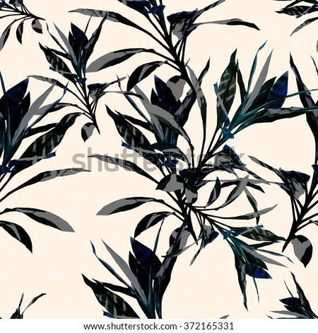 Seamless  tropical flower, plant and leaf pattern background, botanical style. Stylish flowers - stock photo