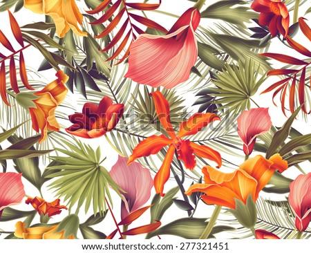 Seamless tropical flower, plant and leaf pattern background, retro botanical style. Stylish flowers print - stock photo
