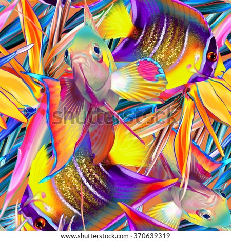 Seamless tropical pattern with fish and strelitzia, abstract exotic texture, summer ornament - stock photo