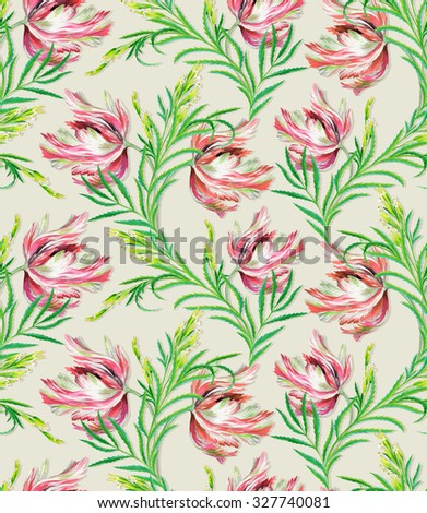 seamless tulip and herbs pattern. very realistic vintage style watercolor botanical illustration, in elegant pastel colors. For interior, fashion, stationery, wedding themes. Elegance and beauty.  - stock photo