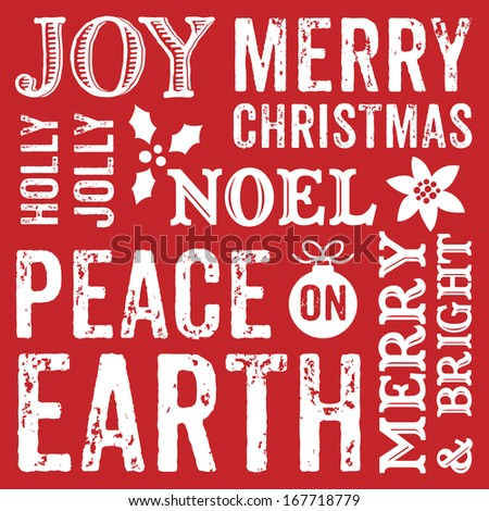 Seamless typographic Christmas background design for greeting cards with seasonal messages in decorative text.