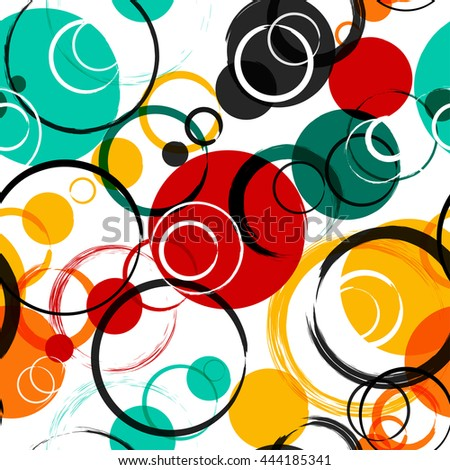 Seamless universal geometric modern pattern. Grunge texture. Circles. illustration. Abstract shapes