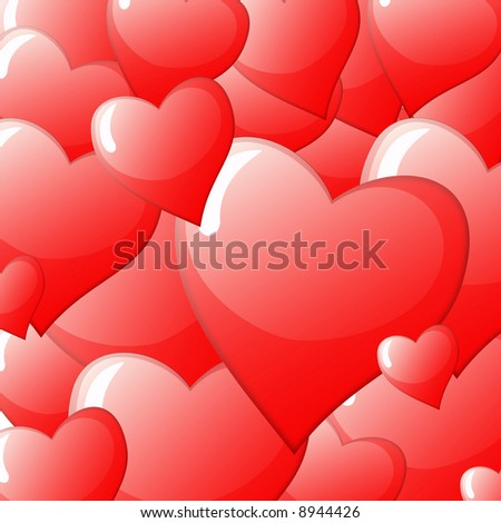 seamless valentine background formed by hearts - stock photo