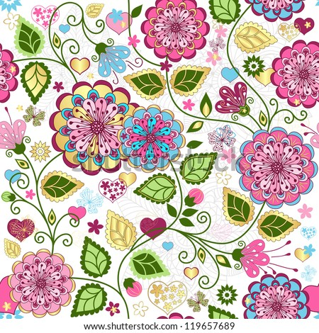 Seamless valentine pattern with colorful flowers and butterflies and hearts - stock photo