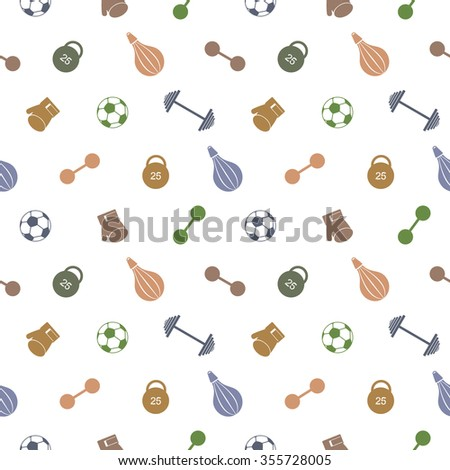 Seamless vector pattern.  Background with colorful sports equipment. Soccer ball, punching bag, gloves, barbells, dumbbells and weight. - stock photo