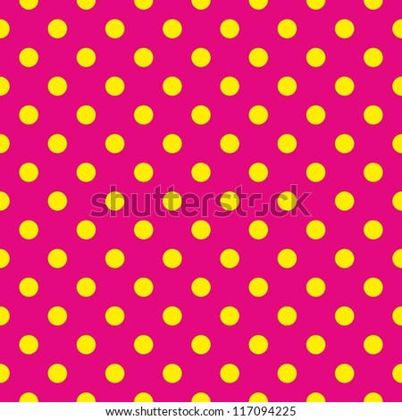 Seamless vector pattern or texture with yellow polka dots on neon pink background. For cards, invitations, websites, desktop, baby shower card background, party, web design, arts and scrapbooks. - stock photo