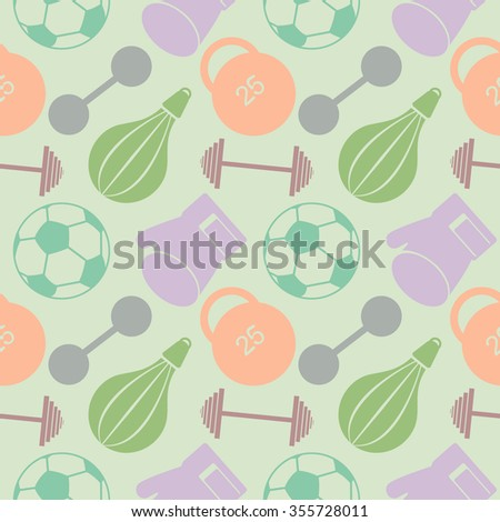Seamless vector pattern. Pastel background with closeup colorful sports equipment. Soccer ball, punching bag, gloves, barbells, dumbbells and weight. - stock photo