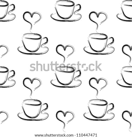 seamless vector pattern with cup of coffees and hearts