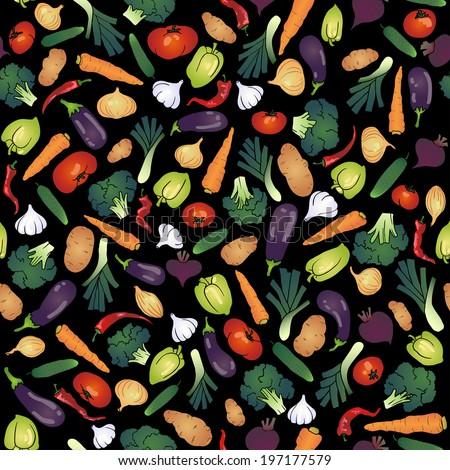 seamless vegetables tomato carrot leek broccoli potato bell pepper garlic onion cucumber chili eggplant. Black background - stock photo