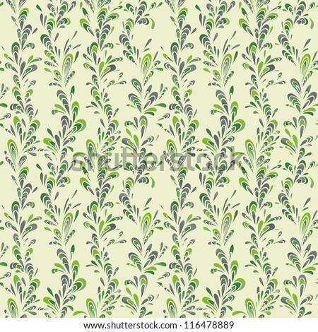 Seamless vertical pattern with green leaves ornament.