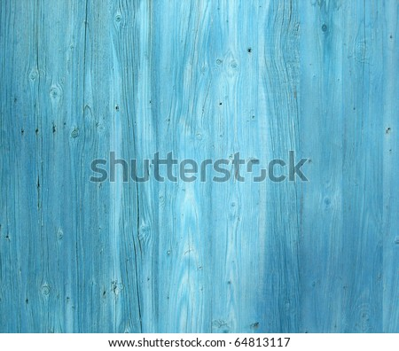 Seamless vertical tiling wood fence texture in blue color - stock photo