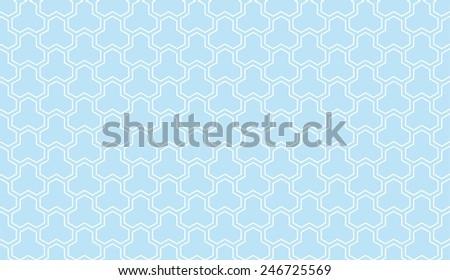 Seamless vintage blue trident isometric pattern - stock photo