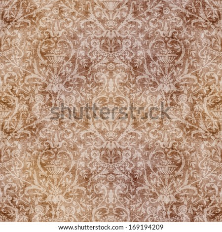 Seamless Vintage Brown Damask Tapestry - stock photo