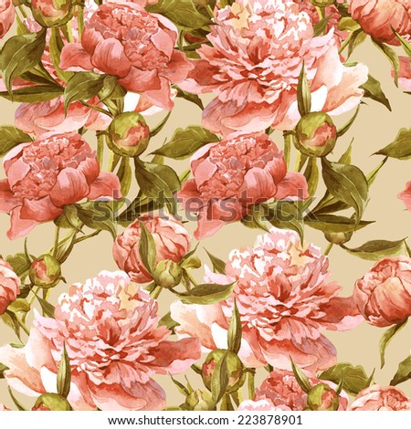 Seamless vintage floral watercolor background with pink peonies  - stock photo