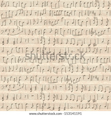 Seamless vintage grunge background with handwritten musical notes - stock photo