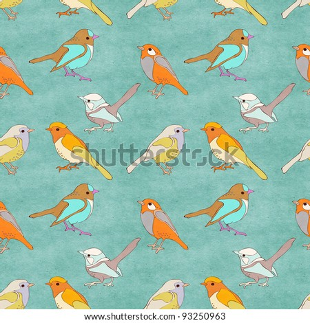 Seamless vintage pattern with birds - stock photo