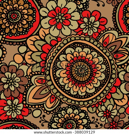 Seamless vintage pattern with floral motifs. Based on a traditional oriental textiles. - stock photo