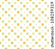 Seamless vintage print in orange, yellow and green. Great for textiles, easter, scrap-booking, greeting cards, gift wrapping paper, wallpapers. See my portfolio for other colors. - stock vector