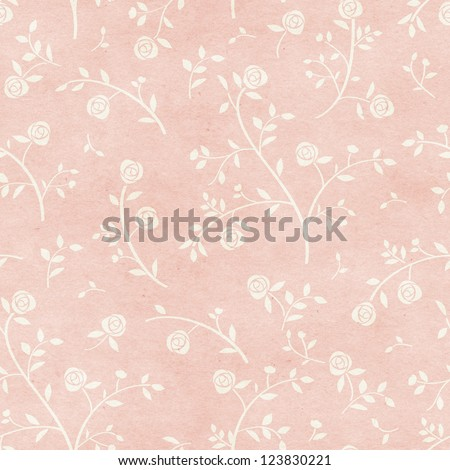 Seamless vintage rose pattern on paper texture. Vintage wallpaper - stock photo