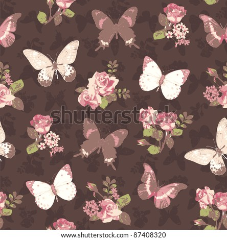 seamless vintage rose with butterfly on brown grunge background - stock photo