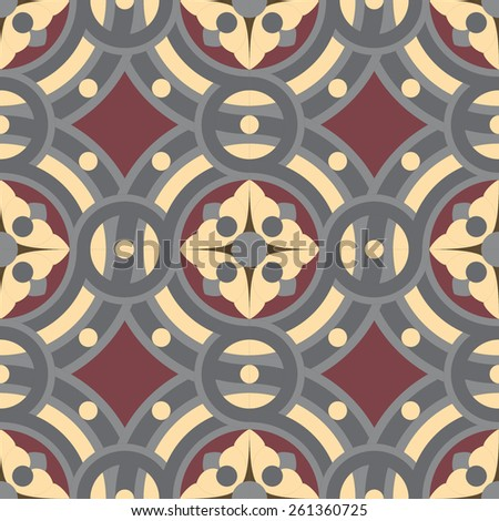 Seamless vintage tile background pattern in golden, gray, vinous colors. The main element of mosaic is abstract flower in circles. - stock photo