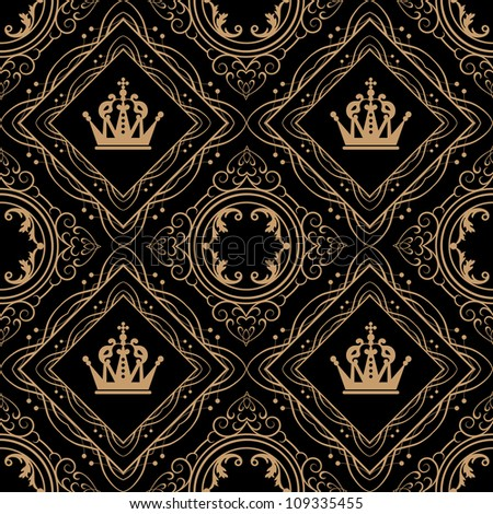 Seamless Vintage. Wallpaper Pattern. Vector - stock photo
