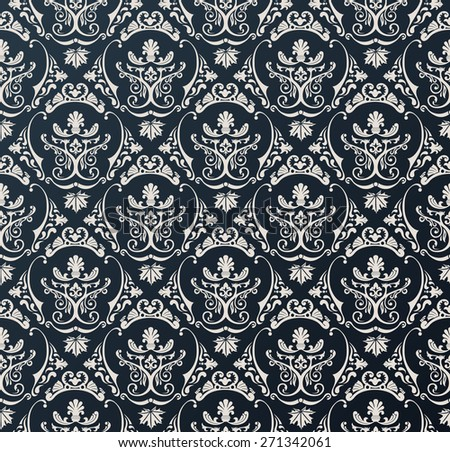Seamless wallpaper background floral vintage black - stock photo
